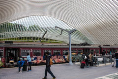 未来派列日Guillemins火车站 库存照片