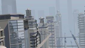 未来派城市和大广告牌照相机飞行 皇族释放例证