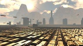 未来派城市科学幻想小说 向量例证