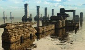 未来派城市科学幻想小说 库存例证