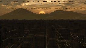 未来派城市科学幻想小说 免版税库存照片