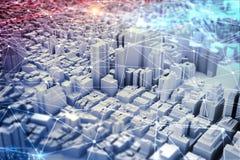 未来派城市视觉 混合画法 免版税库存图片