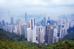 未来派城市香港全景 免版税库存照片