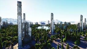 未来派城市,镇 未来的建筑学 鸟瞰图 超级现实4K动画 皇族释放例证