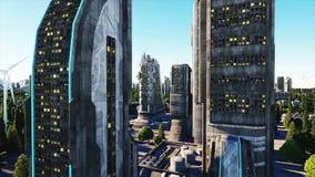 未来派城市,镇 未来的建筑学 鸟瞰图 超级现实4K动画 库存例证
