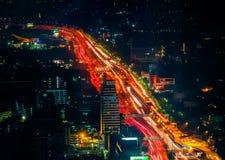 未来派夜都市风景 曼谷泰国 库存照片