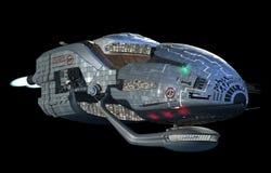 在外层空间旅行的未来派3D太空飞船 免版税库存照片