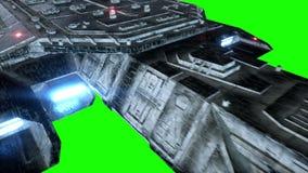 未来派太空船 现实4K动画 绿色屏幕 股票录像