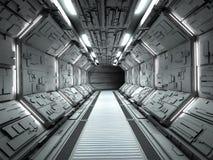 未来派太空飞船内部 库存图片