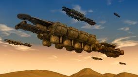 未来派太空飞船飞碟 库存图片