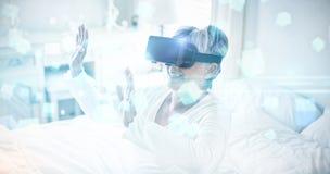 未来派屏幕的综合图象有quaders的3D 免版税库存照片