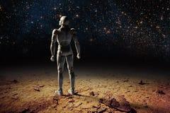 未来派幻想风景-站立在沙漠lan的一个人 免版税图库摄影