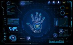 未来派手扫描辨认与hud元素接口屏幕显示器设计背景模板 库存照片