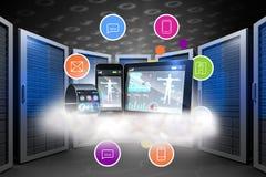 未来派黑手表的综合图象有片剂和智能手机的在云彩 库存图片