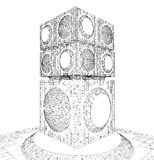 未来派特大的城市城市摩天大楼结构 免版税图库摄影