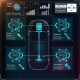 未来派用户界面 HUD UI 抽象真正图表接触用户界面 infographic的汽车 传染媒介科学摘要 库存照片