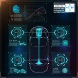 未来派用户界面 HUD UI 抽象真正图表接触用户界面 infographic的汽车 传染媒介科学摘要 库存图片