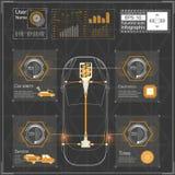 未来派用户界面 HUD UI 抽象真正图表接触用户界面 infographic的汽车 传染媒介科学摘要 免版税图库摄影