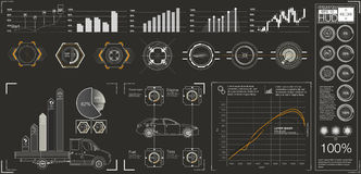 未来派用户界面 HUD UI 抽象真正图表接触用户界面 infographic的汽车 传染媒介科学摘要 图库摄影