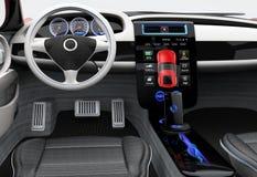未来派电动车仪表板和室内设计 图库摄影