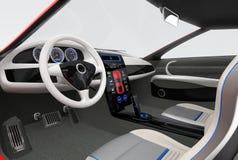 未来派电动车仪表板和室内设计 免版税库存照片