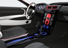 未来派电动车仪表板和室内设计 库存照片