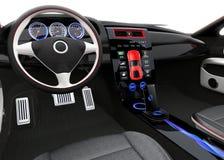 未来派电动车仪表板和室内设计 免版税图库摄影