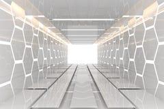 未来派白色六角形室 免版税图库摄影