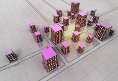 未来派科学幻想小说城市栅格结构概念 免版税图库摄影