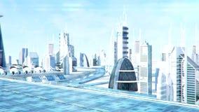 未来派科学幻想小说城市街道图, 3d数位回报了动画 向量例证
