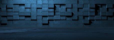 未来派空的金属室 免版税库存图片