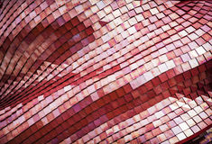 未来派红色屋顶的细节,建筑元素 库存图片