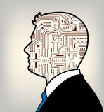 未来派联合的男性和机器人 库存照片