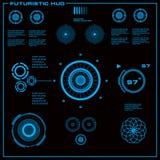 未来派蓝色真正图表接触用户界面 库存图片