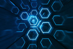未来派表面六角形样式,与光线的六角蜂窝, 3D摘要蓝色翻译 库存例证