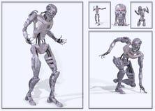 未来派靠机械装置维持生命的人的形&# 库存照片