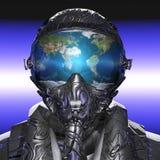 未来派飞行员和行星地球 免版税库存照片