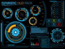 未来派HUD元素集 库存照片
