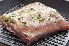 未煮过的用卤汁泡的肉用草本 免版税库存照片