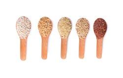 未煮过的糙米五谷; 高梁米; 煮沸的糙米; 麦子 免版税库存照片