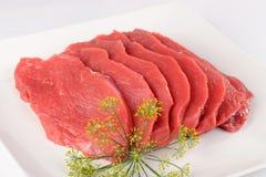 未煮过的肉:未加工的新鲜的牛肉猪肉内圆角 免版税库存照片