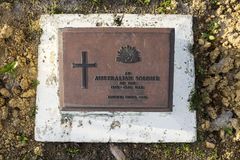 未知的澳大利亚战士墓石  库存图片