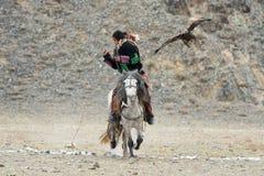 未知的蒙古猎人跨着所谓的Berkutchi在马和飞行的鹫 猎鹰训练术在西部蒙古 金黄的老鹰 免版税库存图片