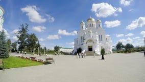 未知的香客是在大教堂广场在救主变貌大教堂附近 图库摄影