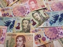未组织起来不同的衡量单位,背景和纹理阿根廷钞票  免版税库存图片