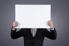 未被承认空白生意人藏品的符号 免版税库存照片