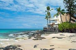 未触动过的沙滩的豪华旅馆与棕榈树和天蓝色 库存图片