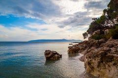 未触动过的海滩在克罗地亚 免版税库存图片