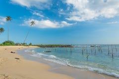 未触动过的热带海滩在斯里兰卡 图库摄影
