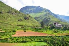 未触动过的风景在不丹 免版税库存图片